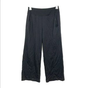 Athleta Black Wide Leg Cropped Knit Pants Small